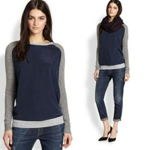 Vince navy grey silk cashmere longsleeve
